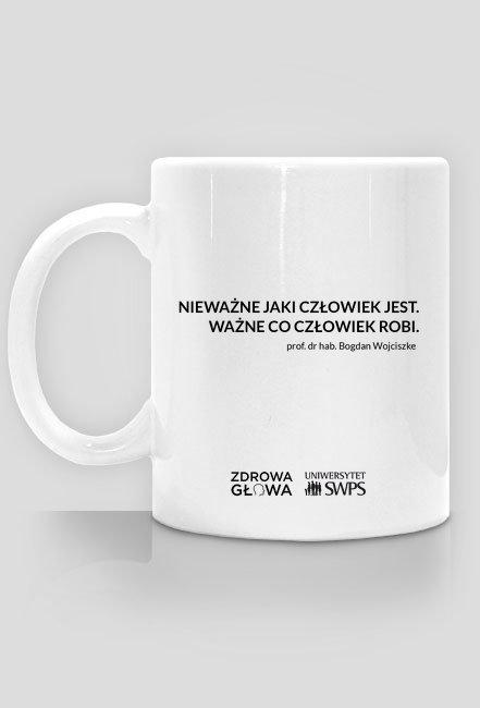 Kubek z cytatem prof. Wojciszke - Zdrowa Głowa i Uniwersytet SWPS