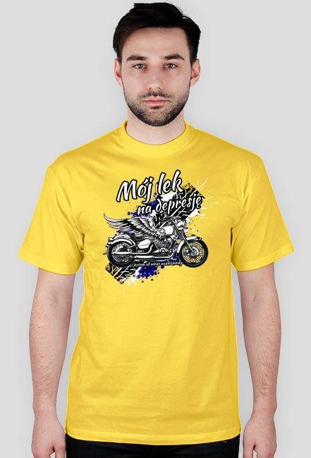 Mój lek na depresję - męska koszulka motocyklowa