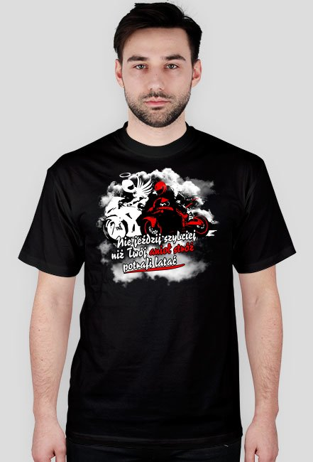 Nie jeździj szybciej niż twój anioł stróż potrafi latać - Męska koszulka motocyklowa