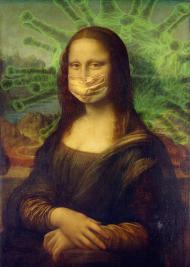 Koszulka Mona Lisa w maseczce damska