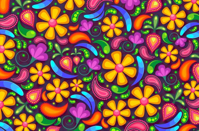 Maseczka wielorazowa z nadrukiem kwiatki 2