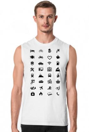 Podróżnicza koszulka z 34 ikonkami dzięki którym, porozumiesz się w każdym kraju.