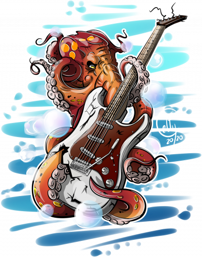 Ośmiornica gitara elektryczna - ciemna