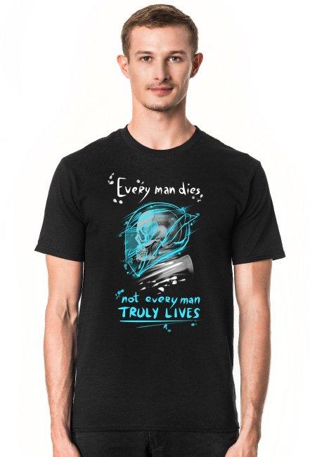 Koszulka motocyklowa czaszka motor ścigacz męska czarna