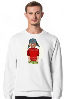 Bluza Męska bez kaptura Miś Hipster