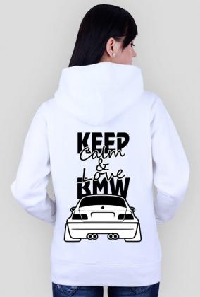 M3 E46 - Keep Calm and Love BMW (bluza damska rozpinana kapturowa) ciemna grafika