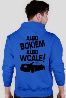 Albo bokiem albo wcale - BMW E46 (bluza męska kapturowa) ciemna grafika tył