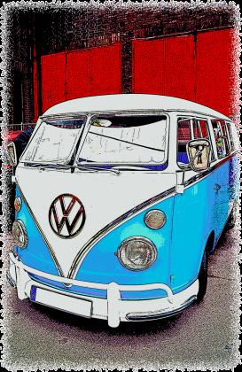 VW Bulli - cartoon (woman t-shirt) bi