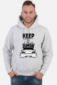 M3 E46 - Keep Calm and Love BMW (bluza męska kapturowa) ciemna grafika