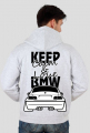 M3 E46 - Keep Calm and Love BMW (bluza męska rozpinana kapturowa) ciemna grafika