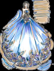 Kubek z ilustracją mody Niebieska suknia z kwiatami
