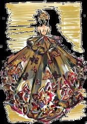 Kubek Złocista suknia z kwiatami