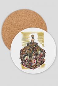 Podkładka pod kubek Złocista suknia z kwiatami