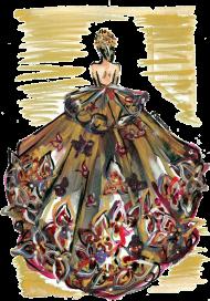 Kubek-serce Złocista suknia z kwiatami