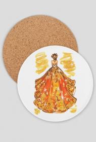 Podkładka pod kubek z ilustracją mody - jesienną suknią