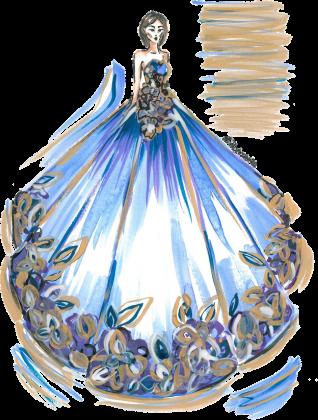 Kubek-serce Niebieska suknia z kwiatami