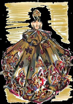 Poszewka Złocista suknia z kwiatami
