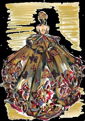 Torba Złocista suknia z kwiatami