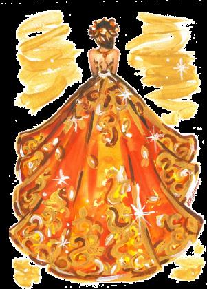 Kubek z ilustracją mody jesiennej sukni