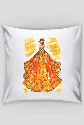 Jednostronna poszewka z ilustracją mody jesiennej sukni
