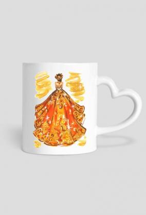 Kubek-serce z ilustracją mody - jesienną suknią