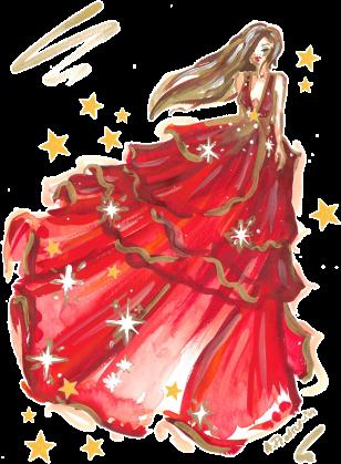 Jednostronna poszewka ze świąteczną ilustracją mody