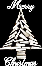 Choinka z książek - męska koszulka świąteczna