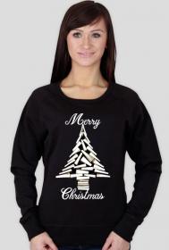 Choinka z książek - damska bluza świąteczna
