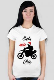 Santa moto claus - damska koszulka świąteczna