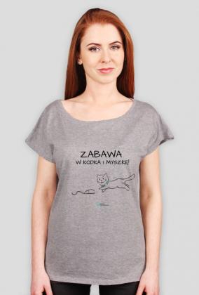Zabawa w Kodka i myszkę - geek - koszulka damska