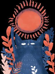 Kot i słońce koszulka damska