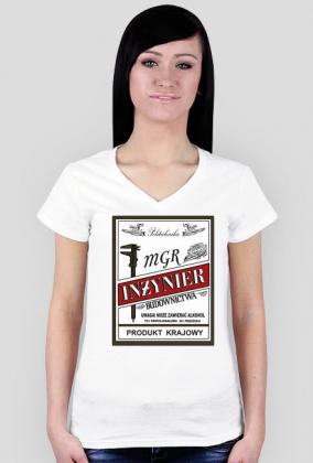 mgr inżynier budownictwa - koszulka damska V-neck