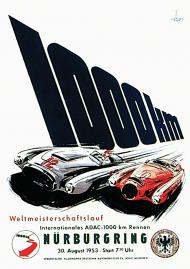 Plakat A1 59x84cm Nurburgring 1954 vintage