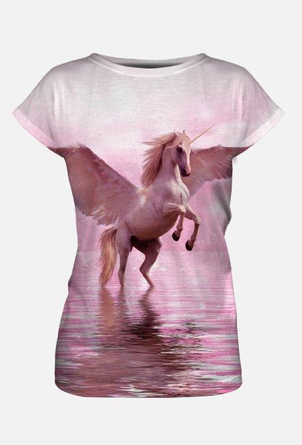Koszulka damska Jednorożec różowa Full Print