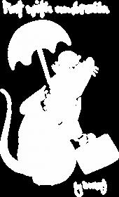 Kubek Banksy Rat with umbrella czarny