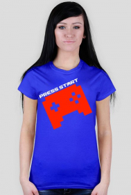 PRESS START PAD orange - blue t-shirt WOMEN
