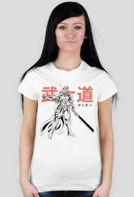 Koszulka z samurajem - Prezent dla otaku (Damska Jasna)