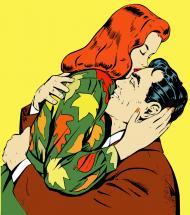 Poszewka na poduszkę (Zakochana para Retro)