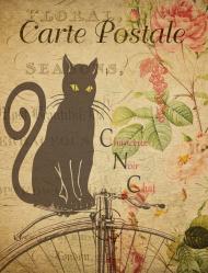 Kubek - czarny kot, vintage, retro