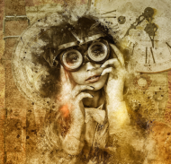 Poszewka steampunk - Dziewczyna, retro, vintage