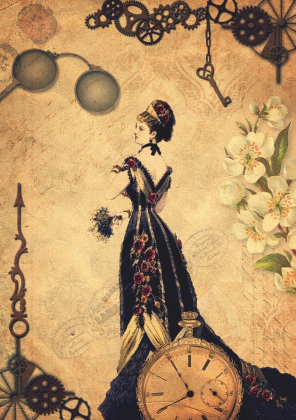 Kubek steampunk - Kobieta, wiktoriański, retro, vintage