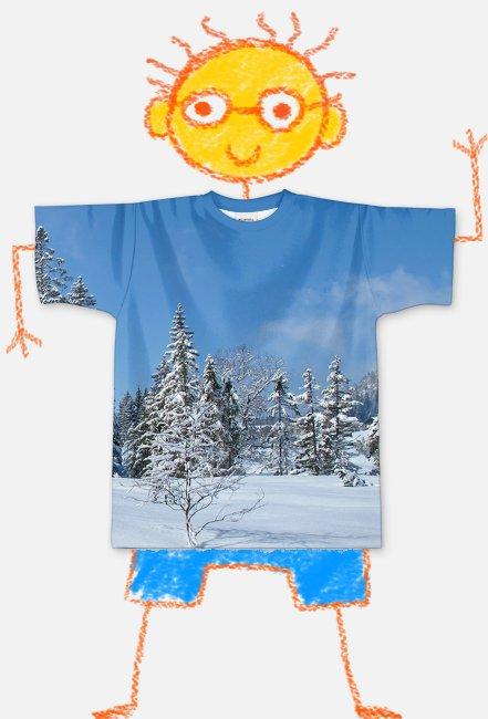 Koszulka FullPrint dziecieca Pejzaz zimowy