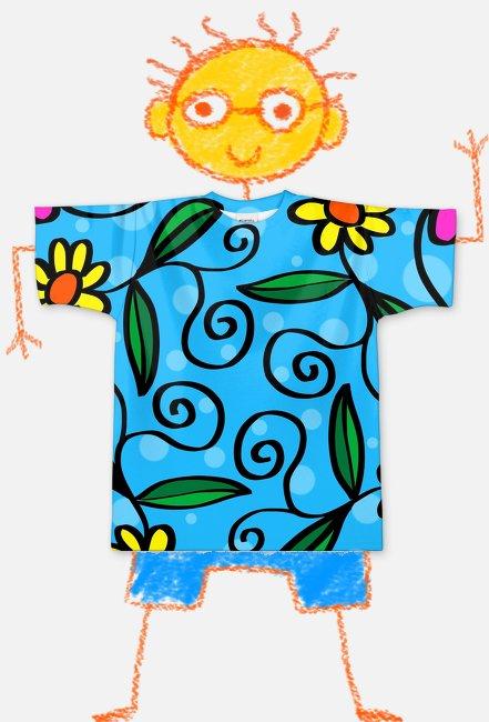 Koszulka FullPrint dziecieca Kwiatki