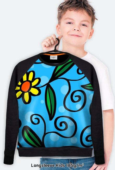 Bluza FullPrint dziecieca 185g/m2 Kwiatki