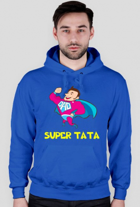 Bluza z kapturem z nadrukiem Super Tata