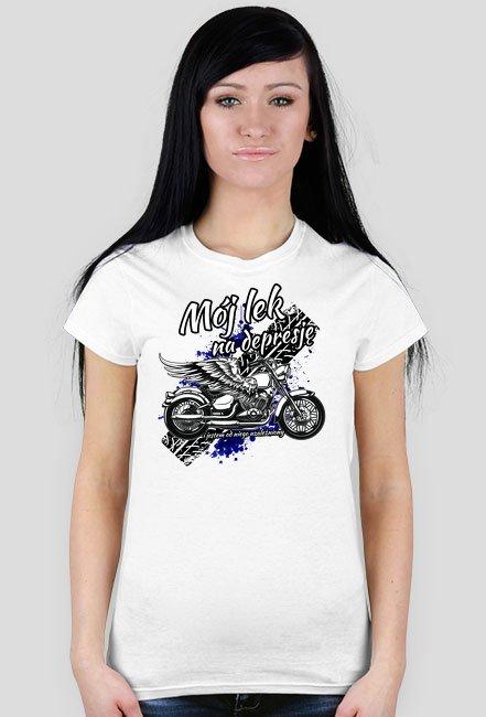 Mój lek na depresję - damska koszulka motocyklowa