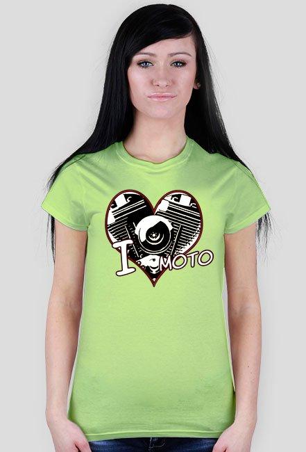 I love moto serce - damska koszulka motocyklowa