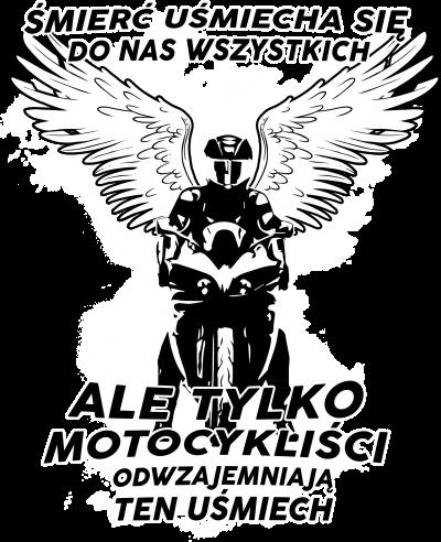 Śmierć uśmiecha się do nas wszystkich - męska koszulka motocyklowa