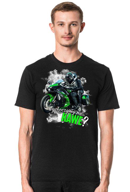 Wyskoczymy na... kawe? - męska koszulka motocyklowa