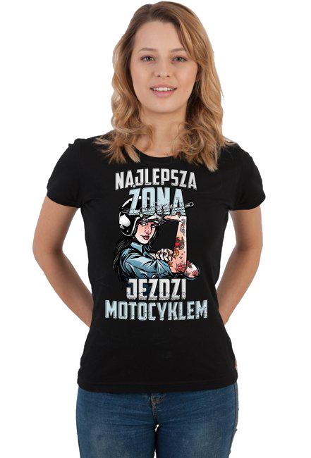 Najlepsza żona jeździ motocyklem - damska koszulka motocyklowa